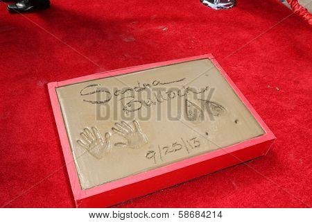 Sandra Bullock's hand and footprint at the Sandra Bullock Hand And Footprint Ceremony, Chinese Theater, Hollywood, CA 09-25-13