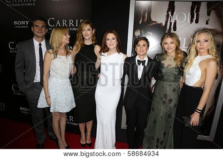 Alex Russell, Cynthia Preston, Judy Greer, Julianne Moore, Kimberly Peirce, Chloe Grace Moretz and Portia Doubleday at the