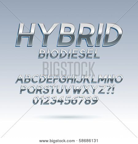 Silver Hybrid Font And Numbers, Eps 10 Vector, Editable For Any Background