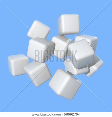 White Cubes Floating