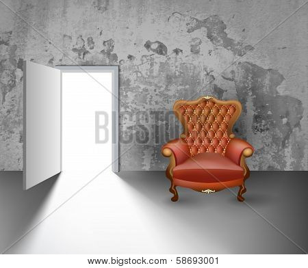Open Door And Armchair