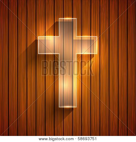 Vector cross on wooden background. Eps 10