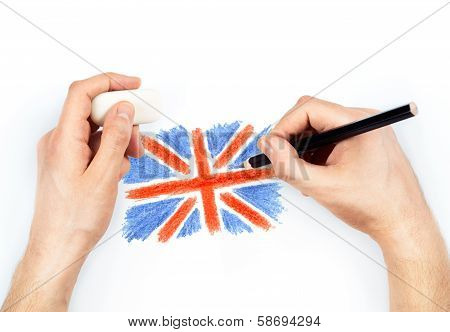 Man's Hands With Pencil Draws Flag Of United Kingdom Of Great Britan On White