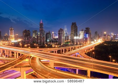 City Highway Traffic In Nightfall