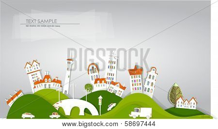 City on the green hills and roads, White city collection