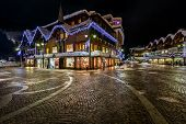 Illuminated Central Square Of Madonna Di Campiglio In The Evening, Italian Alps, Italy