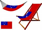 picture of samoa  - samoa hammock and deck chair set against white background abstract vector art illustration - JPG