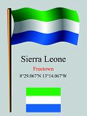 picture of freetown  - sierra leone wavy flag and coordinates against gray background vector art illustration image contains transparency - JPG