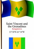 Saint Vincent And The Grenadines Wavy Flag And Coordinates