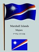 stock photo of pacific islander ethnicity  - marshall islands wavy flag and coordinates against gray background vector art illustration image contains transparency - JPG