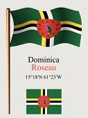Постер, плакат: Dominica Wavy Flag And Coordinates