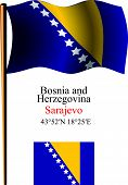 Bosnia And Herzegovina Wavy Flag And Coordinates