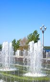 Fountain On Quay Of River Volga