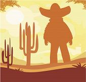 stock photo of sombrero  - man in a sombrero and cactus plants in desert sunset  - JPG