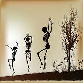stock photo of jive  - Background illustration with Dancing Skeletons on a Halloween night - JPG