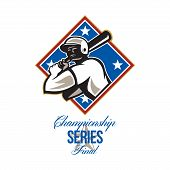 picture of hitter  - Illustration of a american baseball player batter hitter batting with bat set inside diamond shape with stars done in retro style with words Championship Series Final - JPG