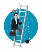 pic of upstairs  - Flat design style modern vector illustration concept of success businessman in stylish suit climbing upstairs symbolizing professional growth winner performance and personal career improvement - JPG