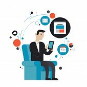 picture of web surfing  - Flat design style modern vector illustration concept of businessman in stylish suit using mobile phone or digital tablet for internet browsing email correspondence business task and for finding new information - JPG