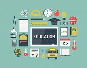 stock photo of education  - Modern flat icons vector collection illustration concept of high school objects and college education items with teaching and learning symbol and studying and educational elements - JPG