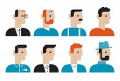 pic of redhead  - Flat design style modern vector illustration icons set of various stylish people heads with faces of different professions - JPG