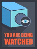 foto of private investigator  - Flat design style modern vector illustration poster concept of video surveillance by the security service through CCTV camera privacy control protection and public safety monitoring - JPG