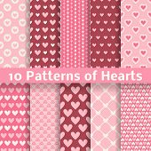 Heart shape vector seamless patterns (tiling)