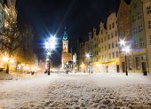 City Hall Old Town Gdansk Poland Europe. Winter Night Scenery.
