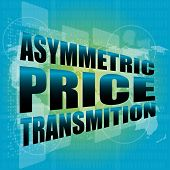 stock photo of asymmetric  - business concept asymmetric price transmition digital touch screen interface - JPG