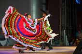 Traditional Mexican Dancer Red Dress Spreading