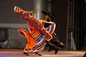 Twisting Mexican Hat Dance Jalisco Orange Couple