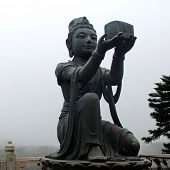 image of lantau island  - Buddhist Statue praising the Big Buddha  - JPG