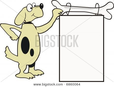 Cartoon of dog holding sign