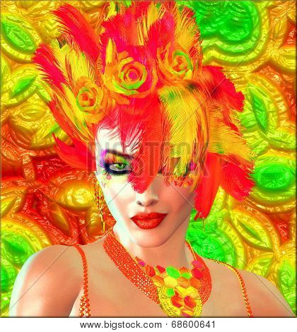 Beauty and Fashion plus colorful feathers and background.