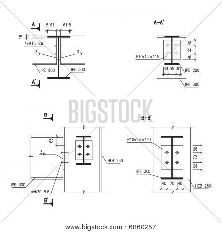 Construction drawing, steel girder connection