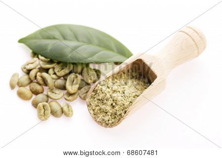 Green Coffee Beans With Leaf