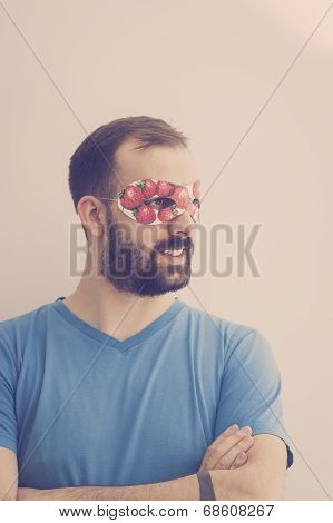 Superhero Wearing Mask With Strawberries