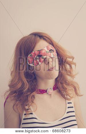 Superhero Girl Wearing Mask With Strawberries