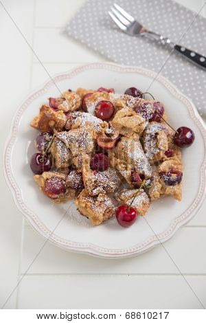 Home made German Pancakes with cherries