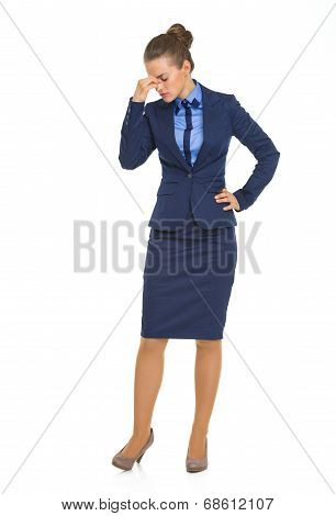 Full Length Portrait Of Frustrated Business Woman