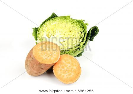 Half A Cabbage And Sweet Potato