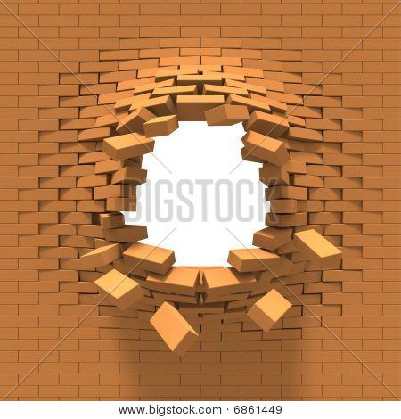 Destrucción de una pared de ladrillo