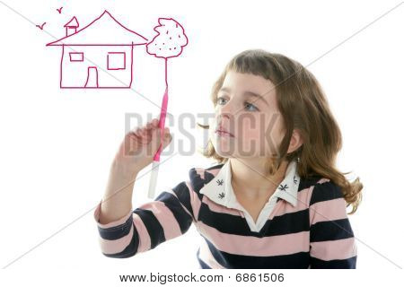 Little Girl Drawing Real State House