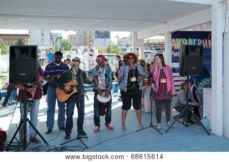 Perm, Russia - Jun 15, 2013: Africanda Group Sing At  White Nights Festival. Million People Visited