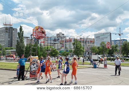 Perm, Russia - Jun 13, 2013: Girls Play At Youth Basketball Tournament At Festival White Nights.