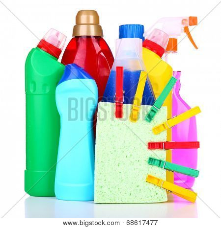 Cleaning products isolated on white
