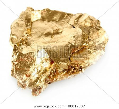 Golden nugget isolated on white