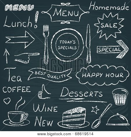 Set of restaurant menu design elements