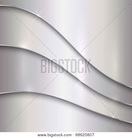 Vector abstract silver metallic background with curves