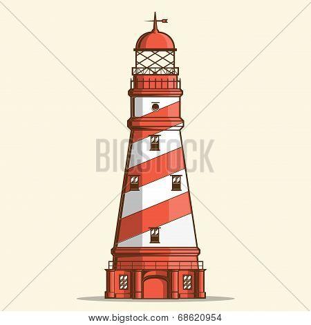 Retro Lighthouse Isolated On White Background. Line Art. Modern Design. Vector Illustration