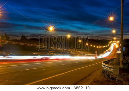 Movement Of Vehicles On The Highway At Night